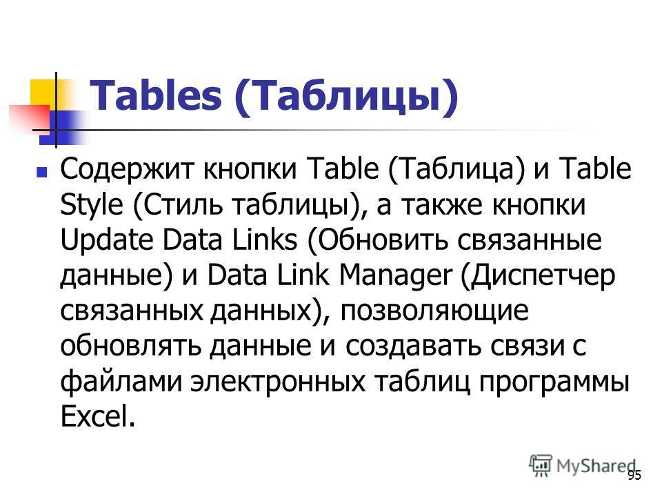 95 Tables (Таблицы) Содержит кнопки Table (Таблица) и Table Style (Стиль таблицы), а также кнопки Update Data Links (Обновить связанные данные) и Data Link Manager (Диспетчер связанных данных), позволяющие обновлять данные и создавать связи с файлами