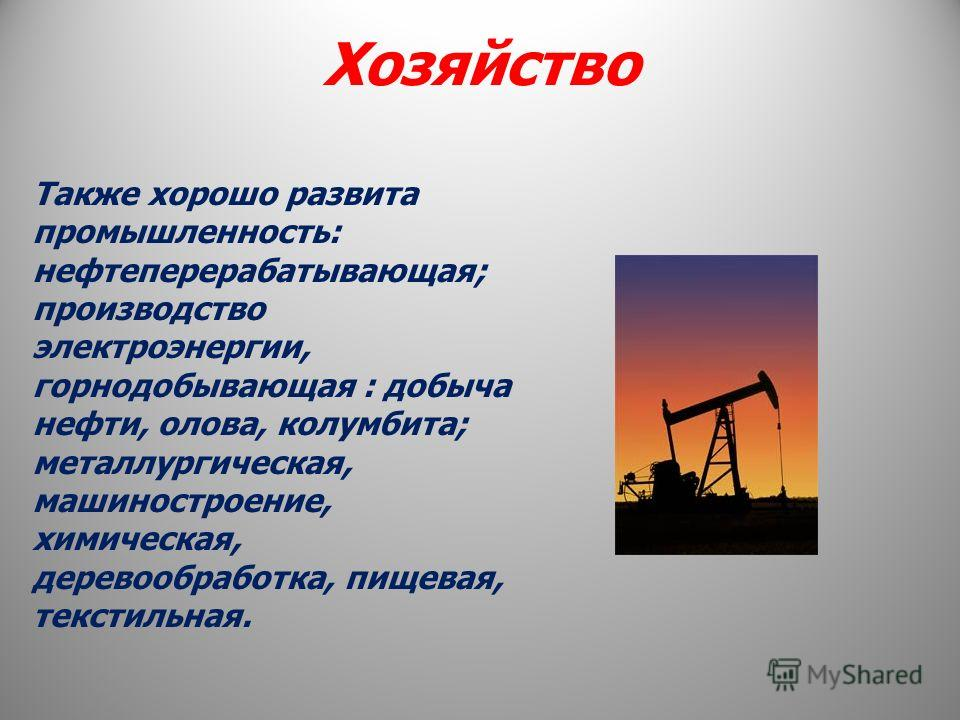 Хозяйство Также хорошо развита промышленность: нефтеперерабатывающая; производство электроэнергии, горнодобывающая : добыча нефти, олова, колумбита; металлургическая, машиностроение, химическая, деревообработка, пищевая, текстильная.