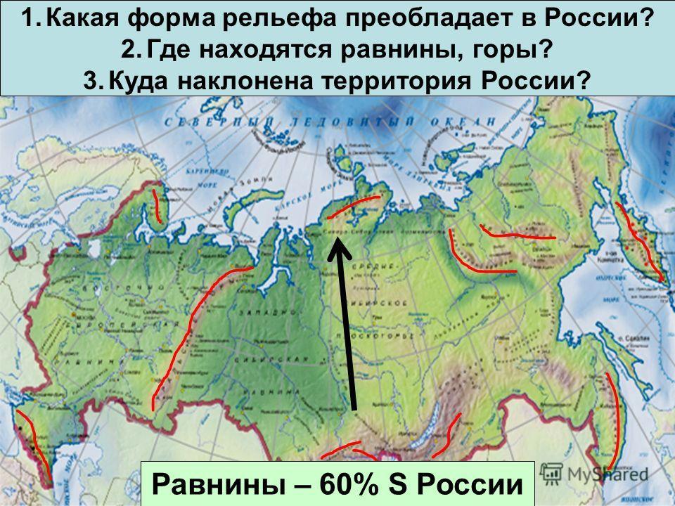 1. Какая форма рельефа преобладает в России? 2. Где находятся равнины, горы? 3. Куда наклонена территория России? Равнины – 60% S России