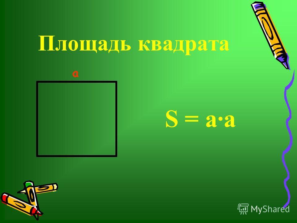 Площадь квадрата S = аа а