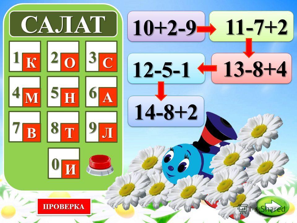 ПРОВЕРКАПРОВЕРКА САЛАТ 123 4 7 56 89 0 КОС МН А ВТ Л И 11-7+2 11-7+2 10+2-910+2-9 12-5-112-5-113-8+413-8+4 14-8+214-8+2