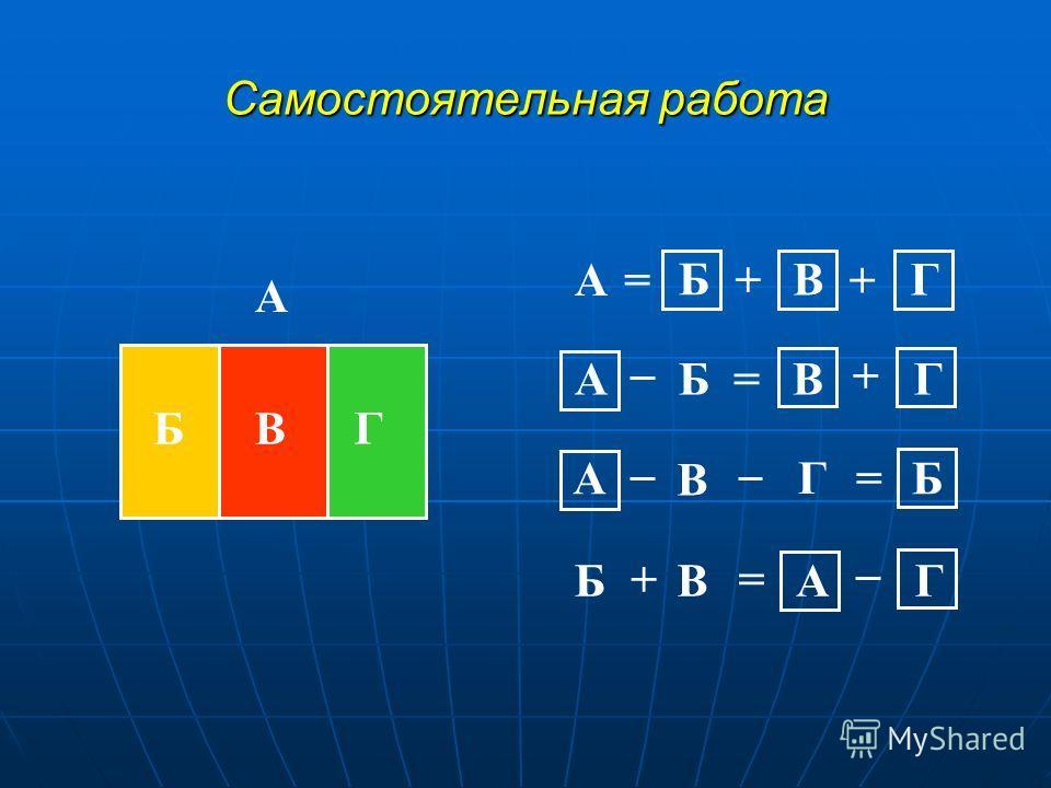 Самостоятельная работа А БВ Г А А А А Б Б БВ В В В Г Г Г Г + + + + = = = = Б
