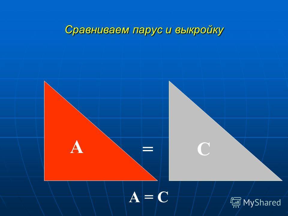 Сравниваем парус и выкройку А С = А = С
