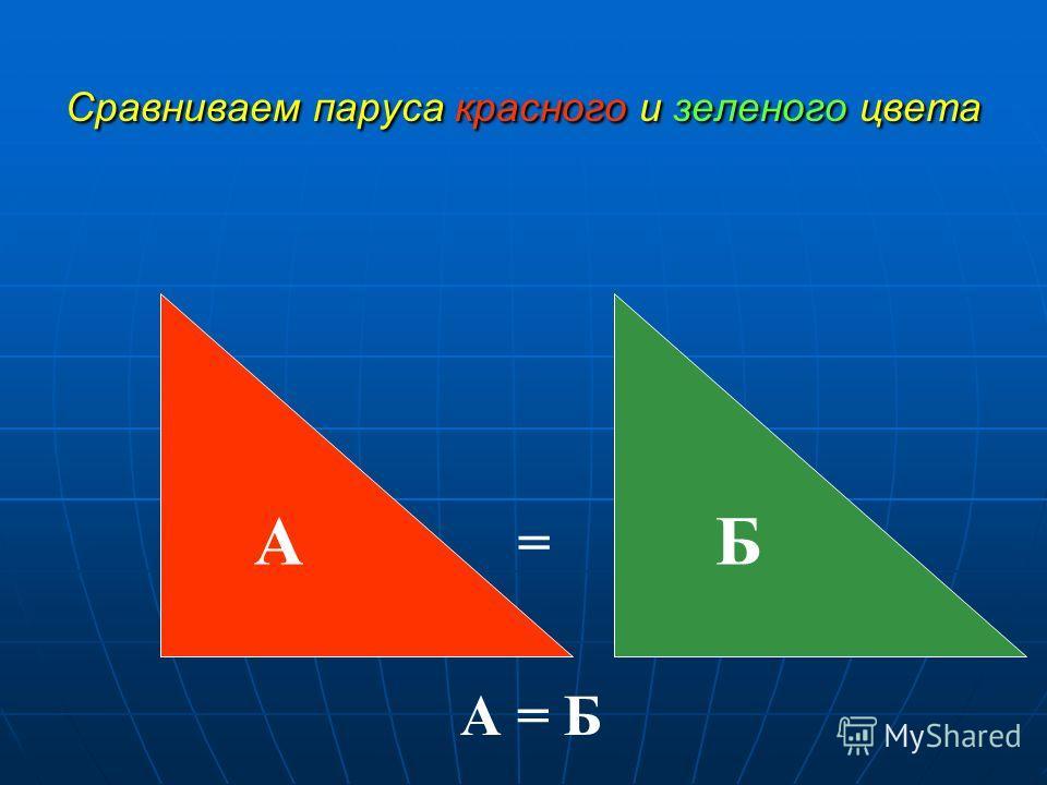 Сравниваем паруса красного и зеленого цвета БА А = Б =