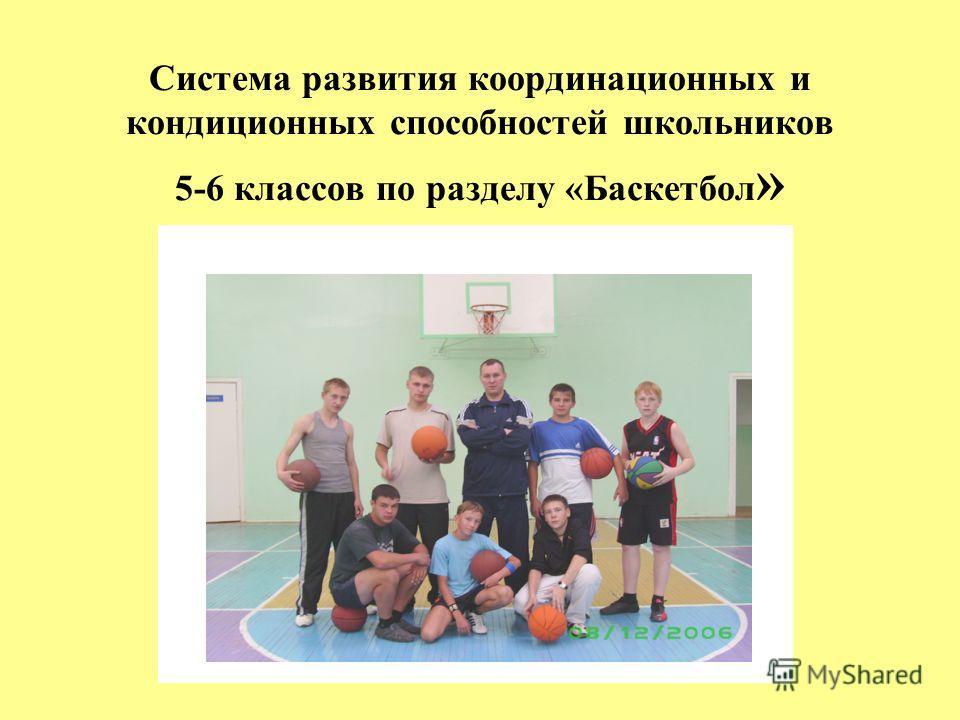 Система развития координационных и кондиционных способностей школьников 5-6 классов по разделу «Баскетбол »