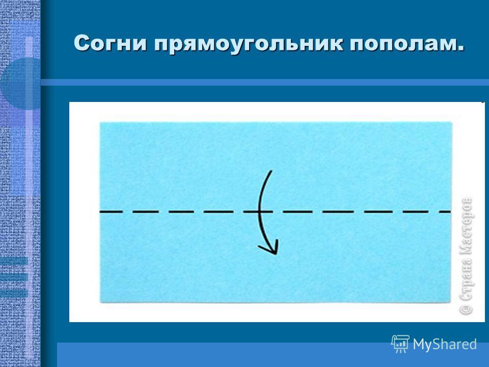 Согни прямоугольник пополам.