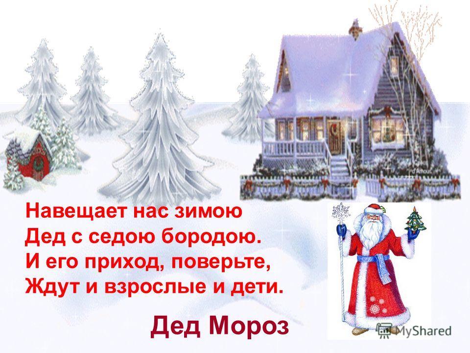 Навещает нас зимою Дед с седою бородою. И его приход, поверьте, Ждут и взрослые и дети. Дед Мороз