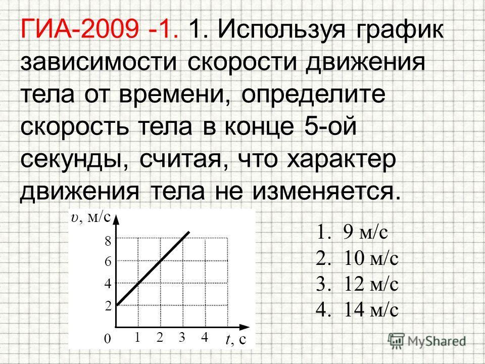 ГИА-2009 -1. 1. Используя график зависимости скорости движения тела от времени, определите скорость тела в конце 5-ой секунды, считая, что характер движения тела не изменяется. 1.9 м/с 2.10 м/с 3.12 м/с 4.14 м/с
