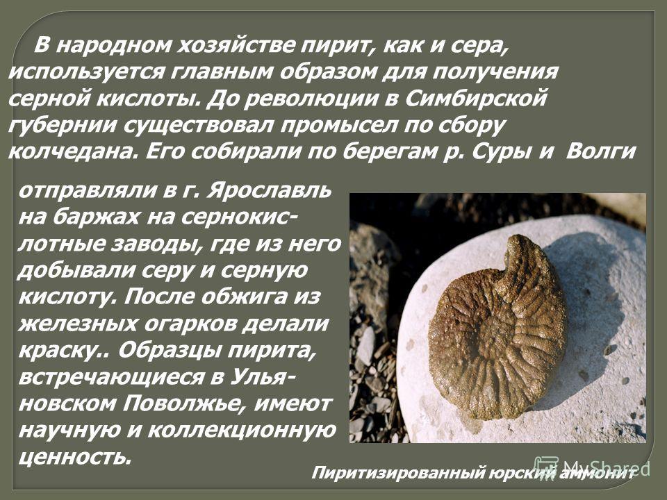 В народном хозяйстве пирит, как и сера, используется главным образом для получения серной кислоты. До революции в Симбирской губернии существовал промысел по сбору колчедана. Его собирали по берегам р. Суры и Волги отправляли в г. Ярославль на баржах
