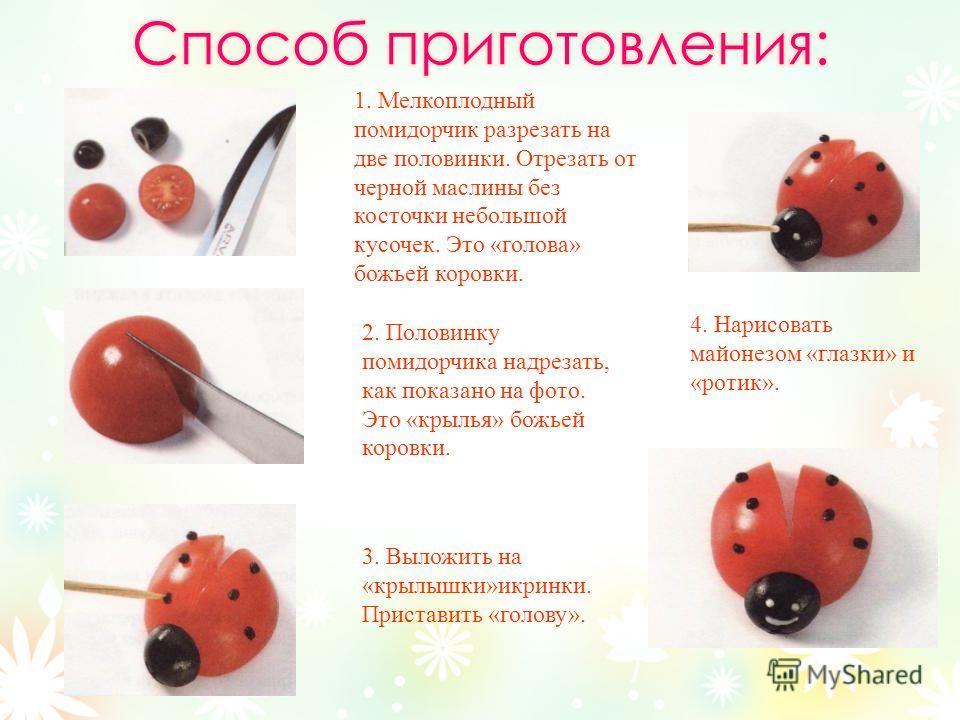 2. Половинку помидорчика надрезать, как показано на фото. Это «крылья» божьей коровки. 3. Выложить на «крылышки»икринки. Приставить «голову». 1. Мелкоплодный помидорчик разрезать на две половинки. Отрезать от черной маслины без косточки небольшой кус