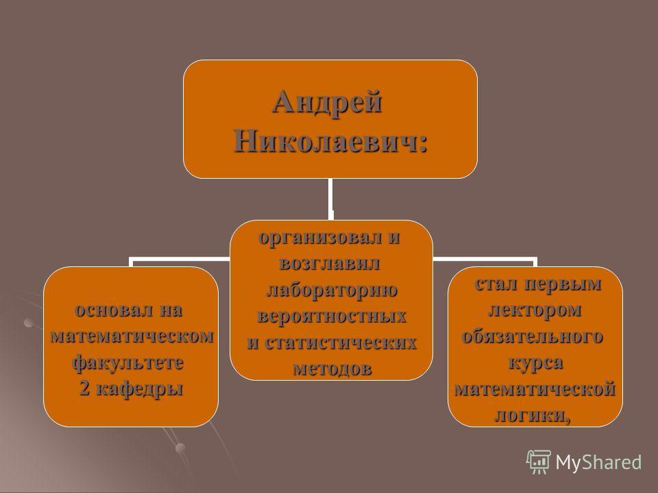 Андрей Николаевич: основал на математическомфакультете 2 кафедры организовал и возглавиллабораториювероятностных и статистических методов стал первым стал первым лектором лекторомобязательногокурса математической математическойлогики,