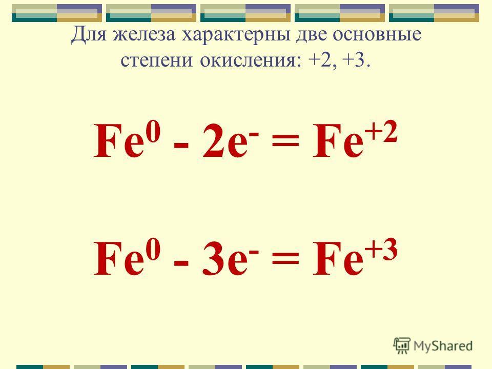 Для железа характерны две основные степени окисления: +2, +3. Fe 0 - 2e - = Fe +2 Fe 0 - 3e - = Fe +3