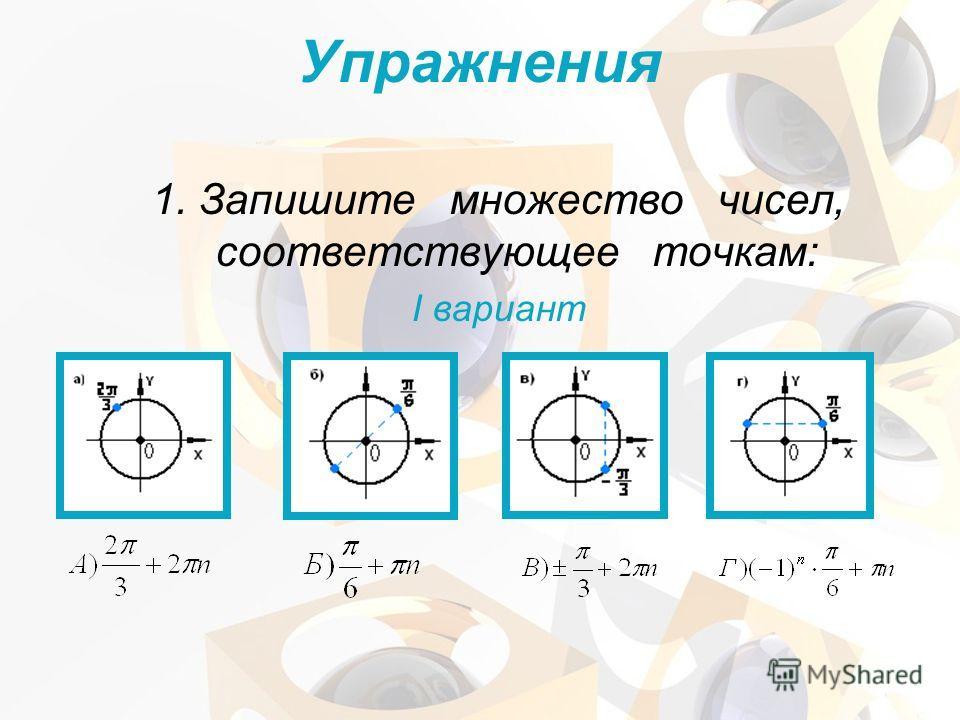 Упражнения 1. Запишите множество чисел, соответствующее точкам: I вариант