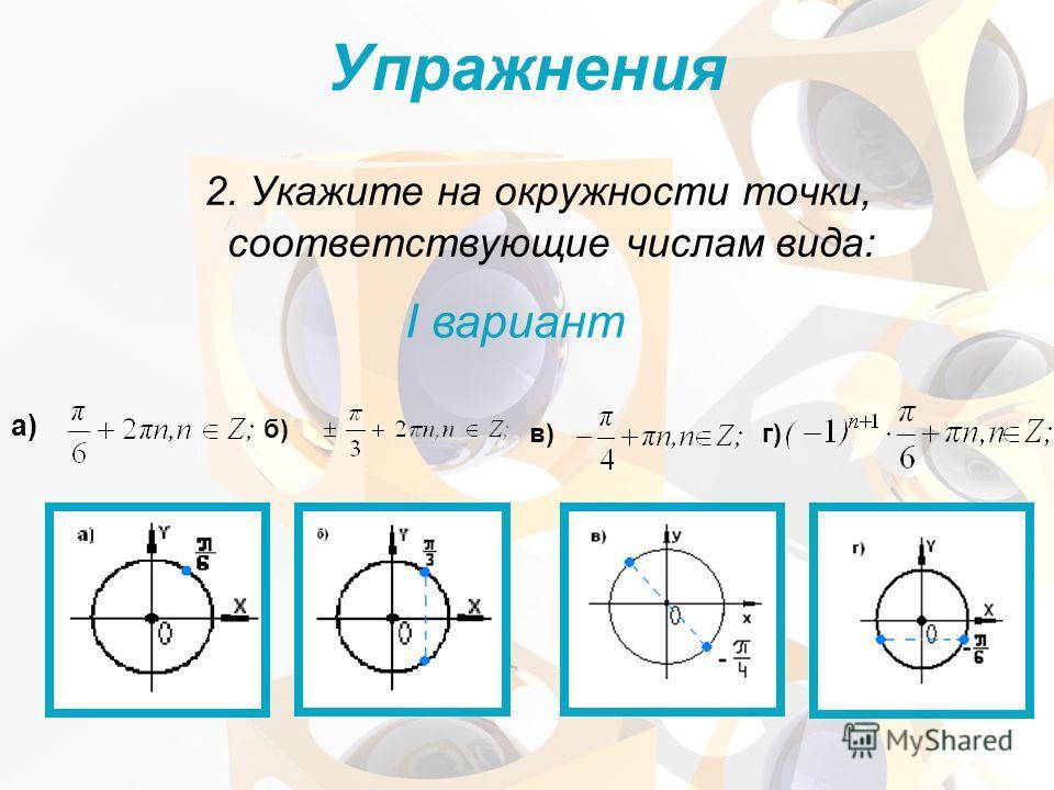 2. Укажите на окружности точки, соответствующие числам вида: I вариант Упражнения а) б) в) г)
