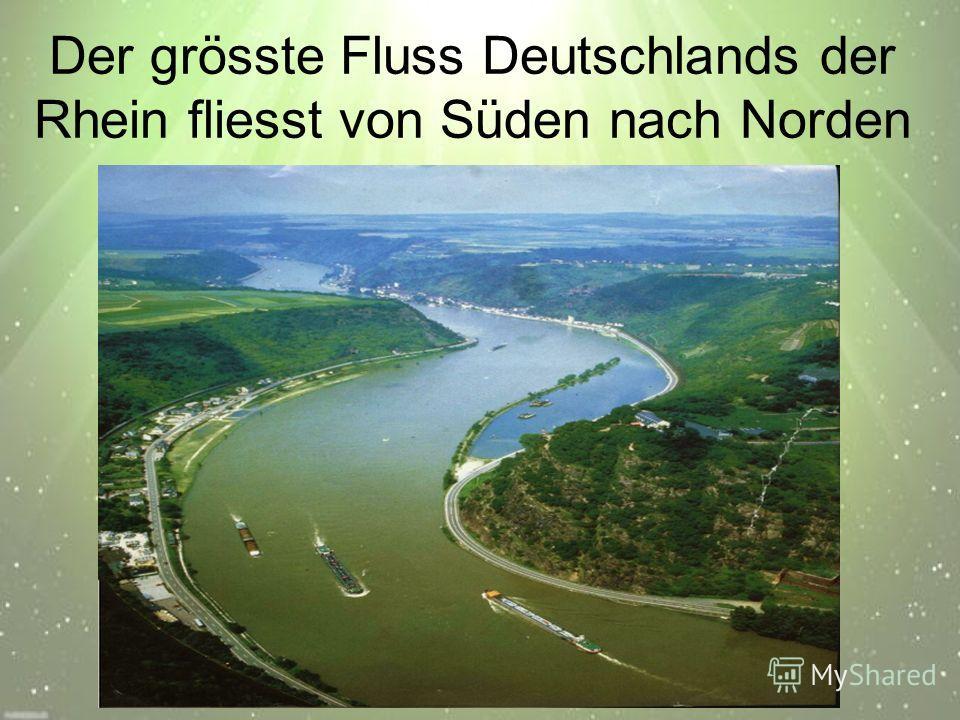 Der grösste Fluss Deutschlands der Rhein fliesst von Süden nach Norden