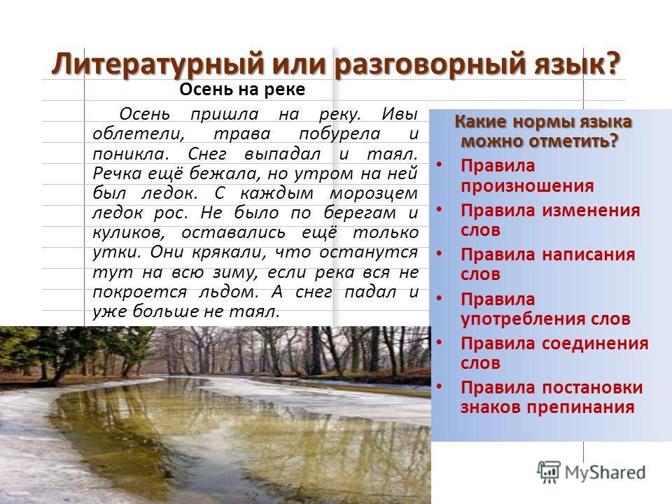 Литературный или разговорный язык? Осень на реке Осень пришла на реку. Ивы облетели, трава побурела и поникла. Снег выпадал и таял. Речка ещё бежала, но утром на ней был ледок. С каждым морозцем ледок рос. Не было по берегам и куликов, оставались ещё