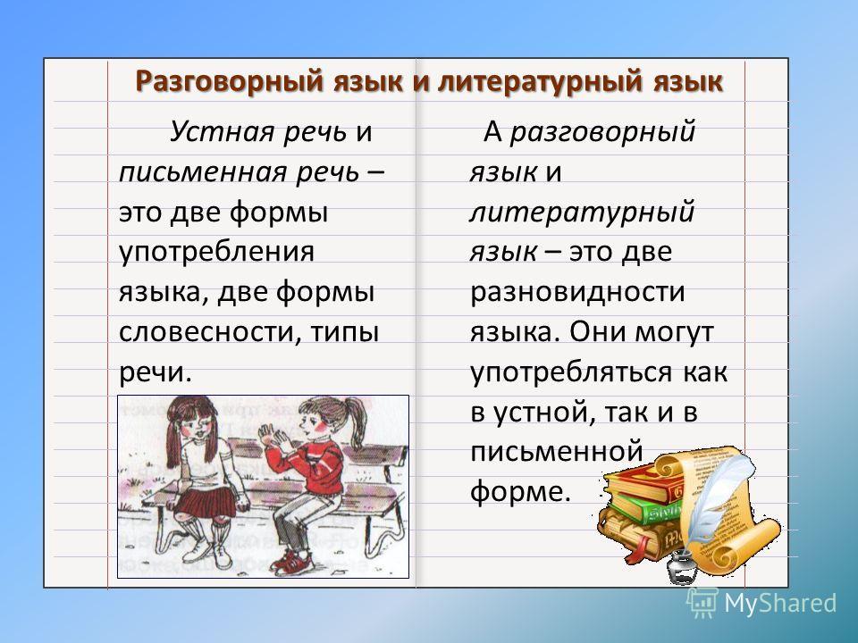 Разговорный язык и литературный язык Устная речь и письменная речь – это две формы употребления языка, две формы словесности, типы речи. А разговорный язык и литературный язык – это две разновидности языка. Они могут употребляться как в устной, так и