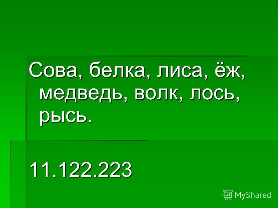Сова, белка, лиса, ёж, медведь, волк, лось, рысь. 11.122.223