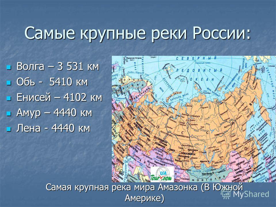 Самые крупные реки России: Волга – 3 531 км Волга – 3 531 км Обь - 5410 км Обь - 5410 км Енисей – 4102 км Енисей – 4102 км Амур – 4440 км Амур – 4440 км Лена - 4440 км Лена - 4440 км Самая крупная река мира Амазонка (В Южной Америке)