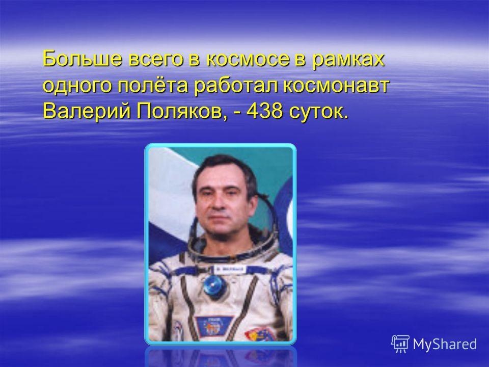 Больше всего в космосе в рамках одного полёта работал космонавт Валерий Поляков, - 438 суток. Больше всего в космосе в рамках одного полёта работал космонавт Валерий Поляков, - 438 суток.
