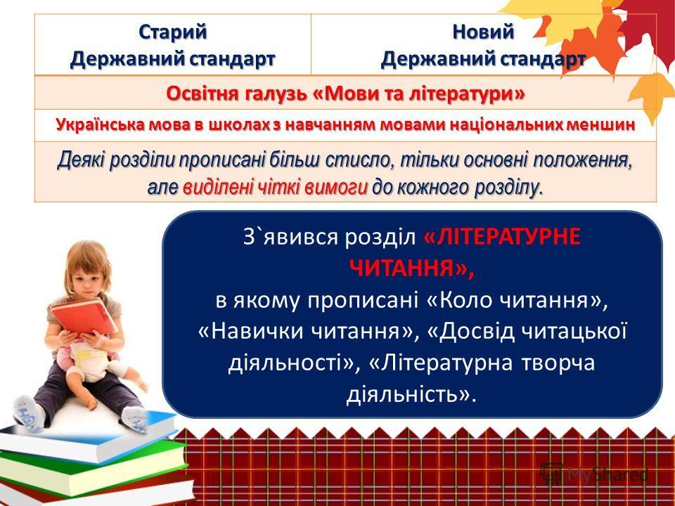 Старий Державний стандарт Новий Освітня галузь «Мови та літератури» Українська мова в школах з навчанням мовами національних меншин Деякі розділи прописані більш стисло, тільки основні положення, але виділені чіткі вимоги до кожного розділу. З`явився