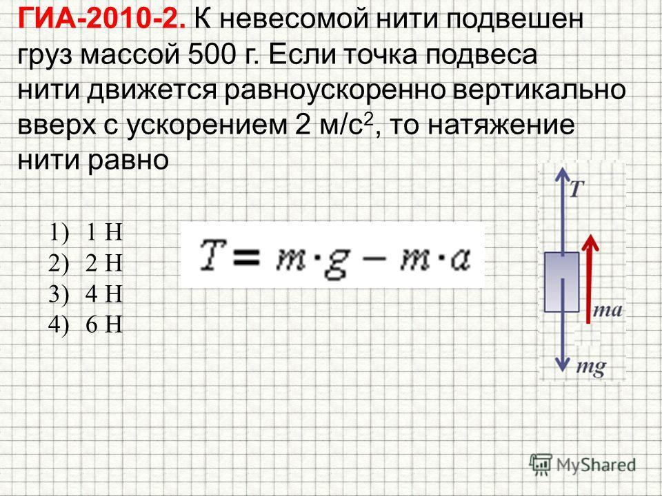 ГИА-2010-2. К невесомой нити подвешен груз массой 500 г. Если точка подвеса нити движется равноускоренно вертикально вверх с ускорением 2 м/с 2, то натяжение нити равно 1)1 Н 2)2 Н 3)4 Н 4)6 Н