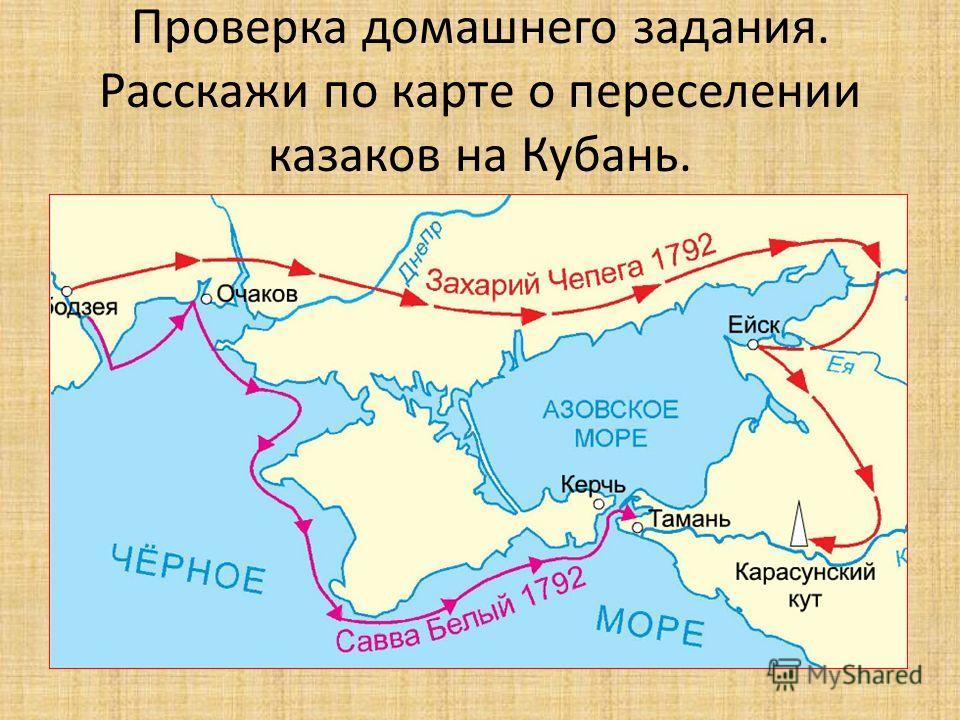 Проверка домашнего задания. Расскажи по карте о переселении казаков на Кубань.