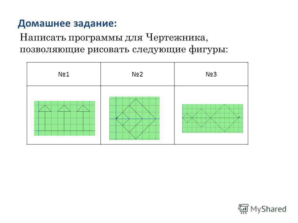 Домашнее задание: 123 Написать программы для Чертежника, позволяющие рисовать следующие фигуры: