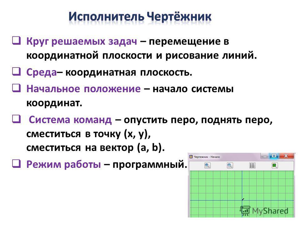 Круг решаемых задач – перемещение в координатной плоскости и рисование линий. Среда– координатная плоскость. Начальное положение – начало системы координат. Система команд – опустить перо, поднять перо, сместиться в точку (х, у), сместиться на вектор