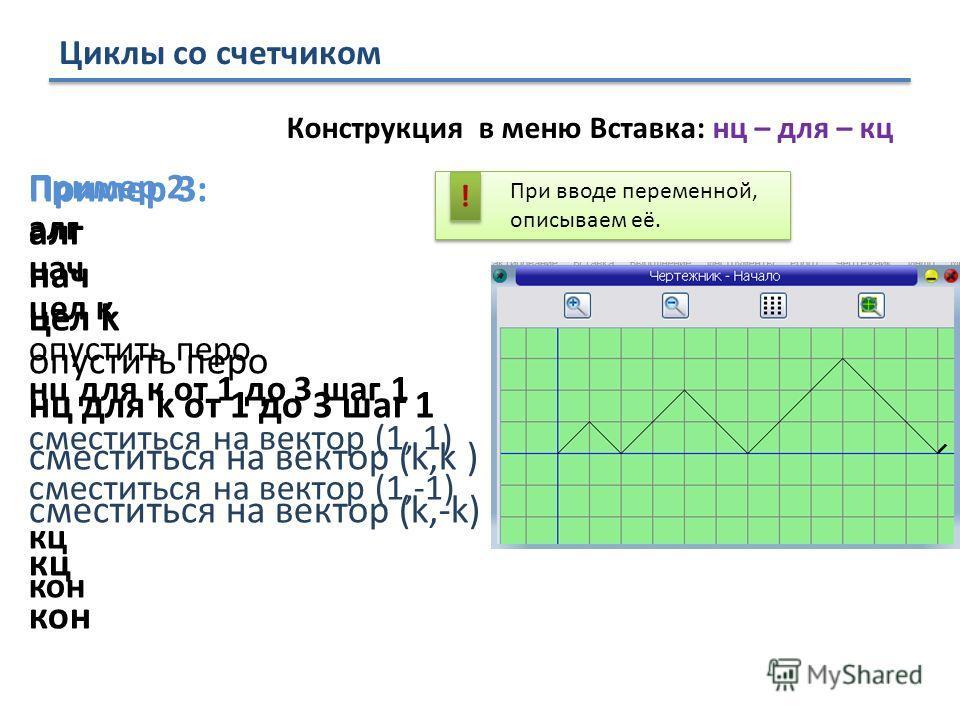 Циклы со счетчиком Пример 2: алг нач цел к опустить перо нц для к от 1 до 3 шаг 1 сместиться на вектор (1, 1) сместиться на вектор (1,-1) кц кон Пример 3: алг нач цел k опустить перо нц для k от 1 до 3 шаг 1 сместиться на вектор (k,k ) сместиться на