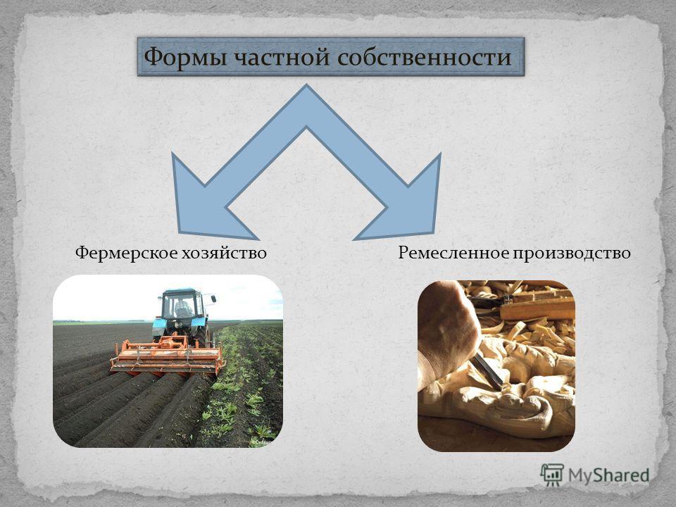 Формы частной собственности Фермерское хозяйство Ремесленное производство
