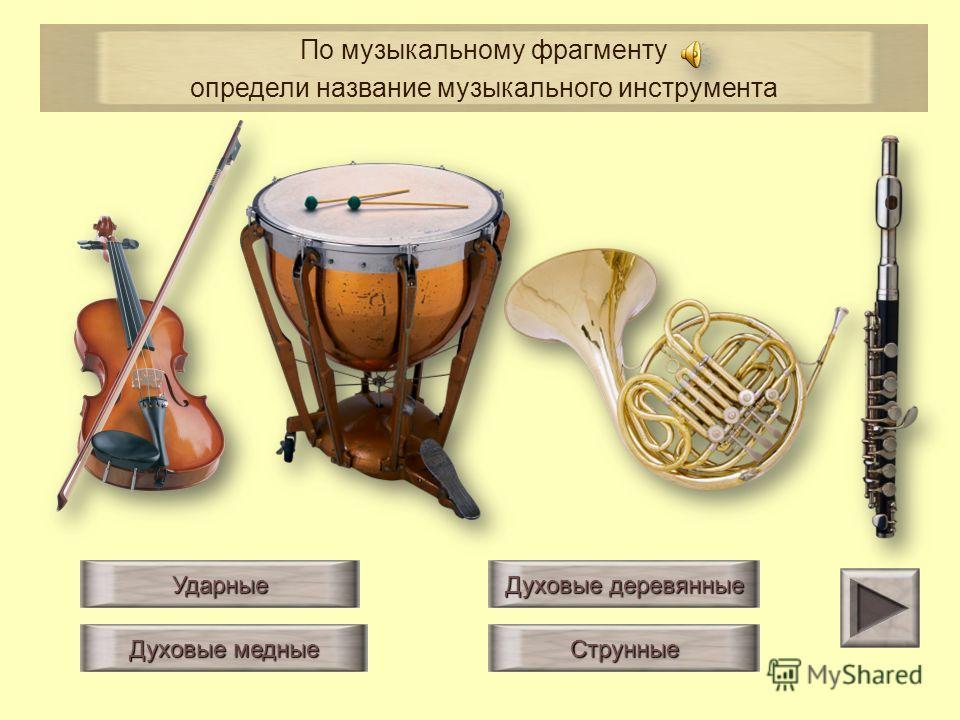 Ударные Духовые деревянные Струнные Духовые медные По музыкальному фрагменту определи название музыкального инструмента
