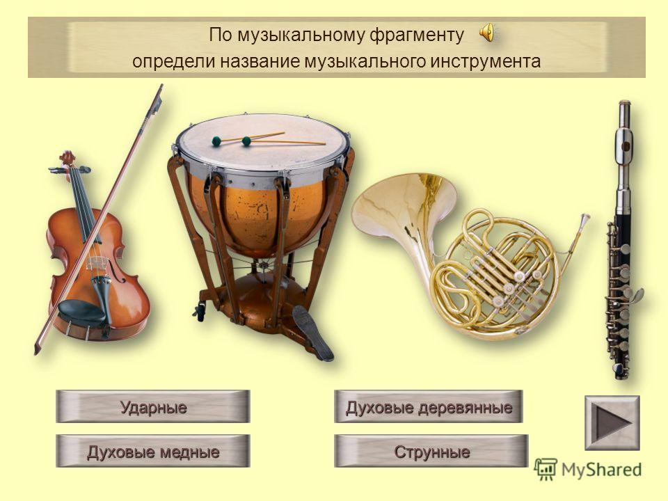 Ударные Струнные Духовые деревянные Духовые медные По музыкальному фрагменту определи название музыкального инструмента