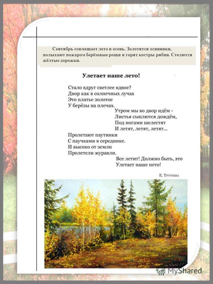 Сентябрь совмещает лето и осень. Золотятся осинники, полыхают пожаром берёзовые рощи и горят костры рябин. Стелются жёлтые дорожки.