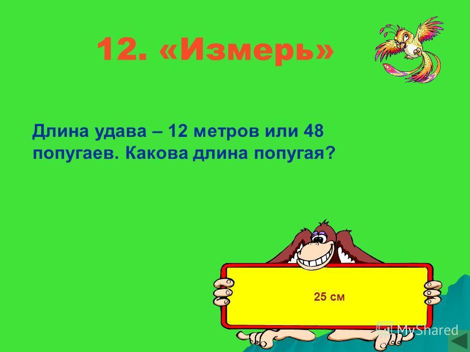 12. «Измерь» Длина удава – 12 метров или 48 попугаев. Какова длина попугая? 25 см