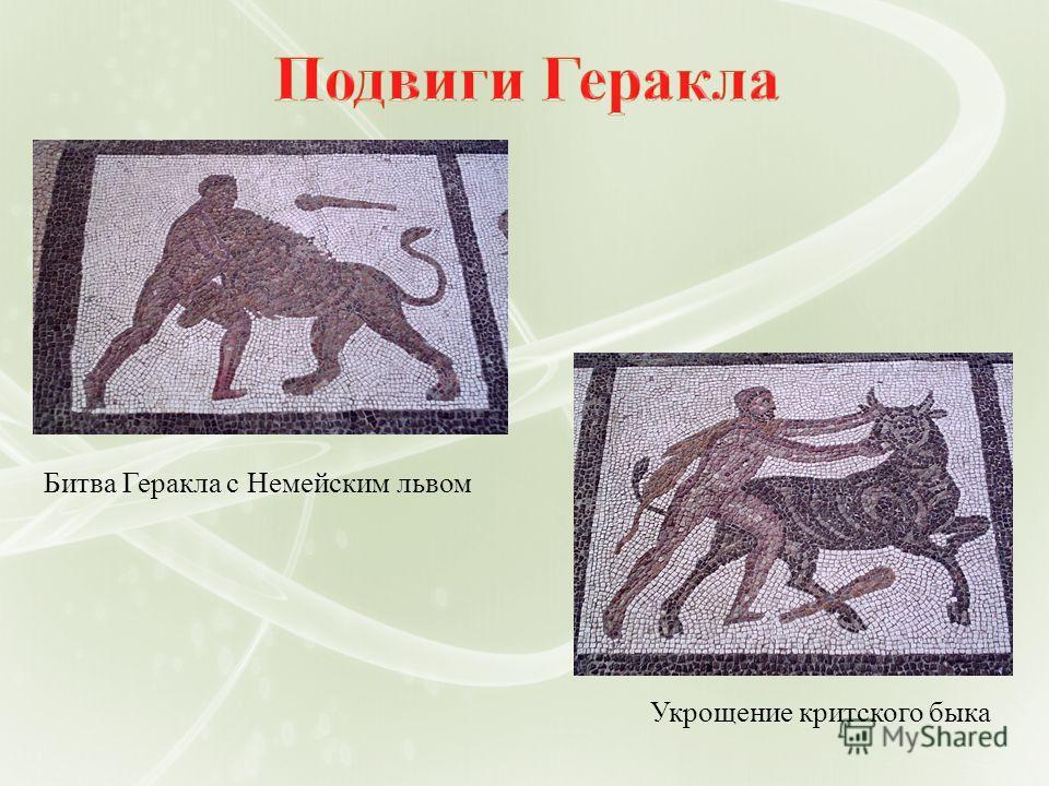 Битва Геракла с Немейским львом Укрощение критского быка