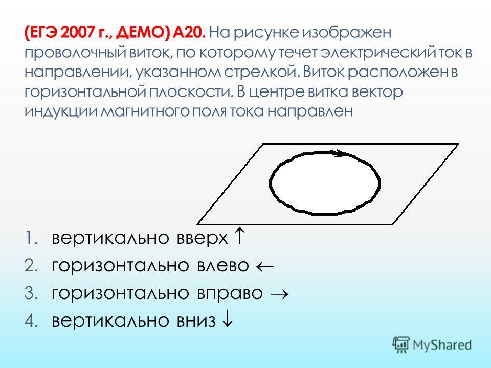 (ЕГЭ 2007 г., ДЕМО) А20. На рисунке изображен проволочный виток, по которому течет электрический ток в направлении, указанном стрелкой. Виток расположен в горизонтальной плоскости. В центре витка вектор индукции магнитного поля тока направлен 1. верт