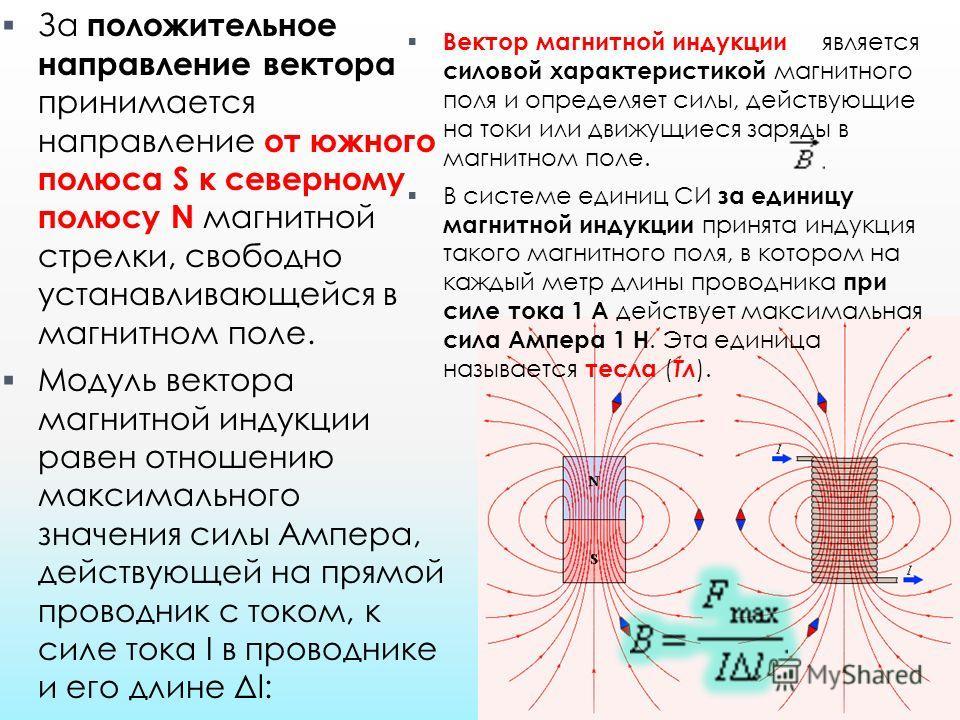 За положительное направление вектора принимается направление от южного полюса S к северному полюсу N магнитной стрелки, свободно устанавливающейся в магнитном поле. Модуль вектора магнитной индукции равен отношению максимального значения силы Ампера,
