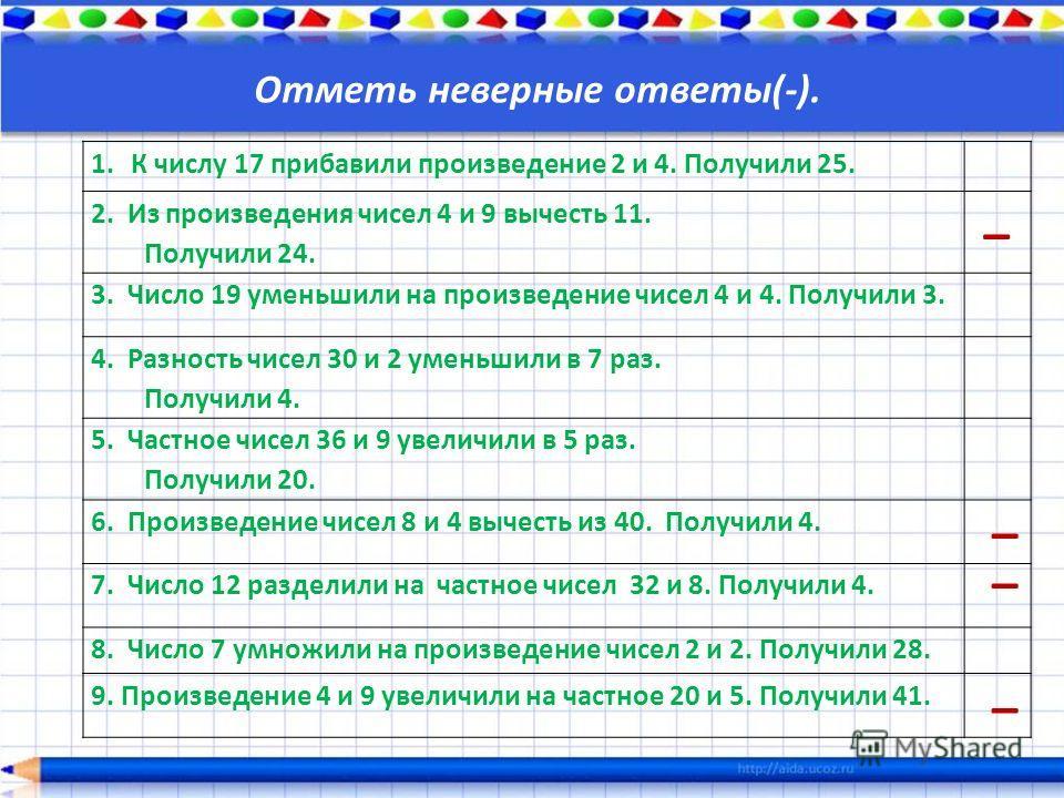 1. К числу 17 прибавили произведение 2 и 4. Получили 25. 2. Из произведения чисел 4 и 9 вычесть 11. Получили 24. 3. Число 19 уменьшили на произведение чисел 4 и 4. Получили 3. 4. Разность чисел 30 и 2 уменьшили в 7 раз. Получили 4. 5. Частное чисел 3