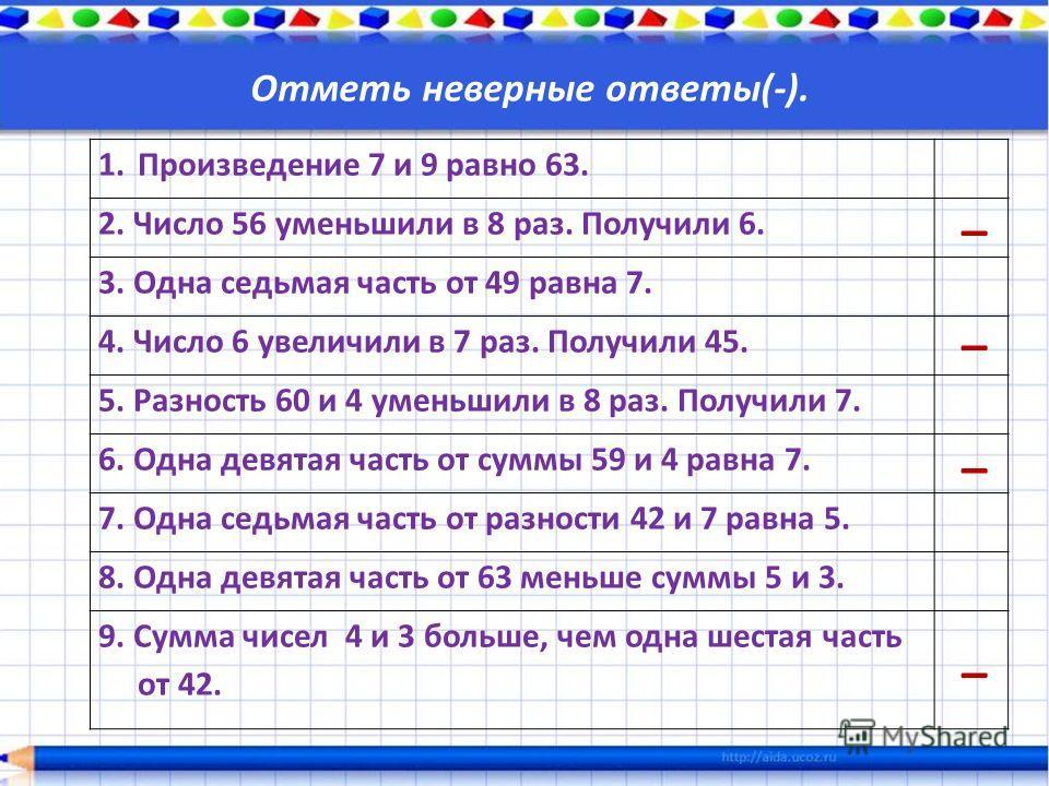 Отметь неверные ответы(-). 1. Произведение 7 и 9 равно 63. 2. Число 56 уменьшили в 8 раз. Получили 6. 3. Одна седьмая часть от 49 равна 7. 4. Число 6 увеличили в 7 раз. Получили 45. 5. Разность 60 и 4 уменьшили в 8 раз. Получили 7. 6. Одна девятая ча