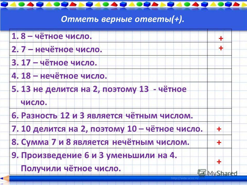 1.8 – чётное число. 2. 7 – нечётное число. 3. 17 – чётное число. 4. 18 – нечётное число. 5. 13 не делится на 2, поэтому 13 - чётное число. 6. Разность 12 и 3 является чётным числом. 7. 10 делится на 2, поэтому 10 – чётное число. 8. Сумма 7 и 8 являет
