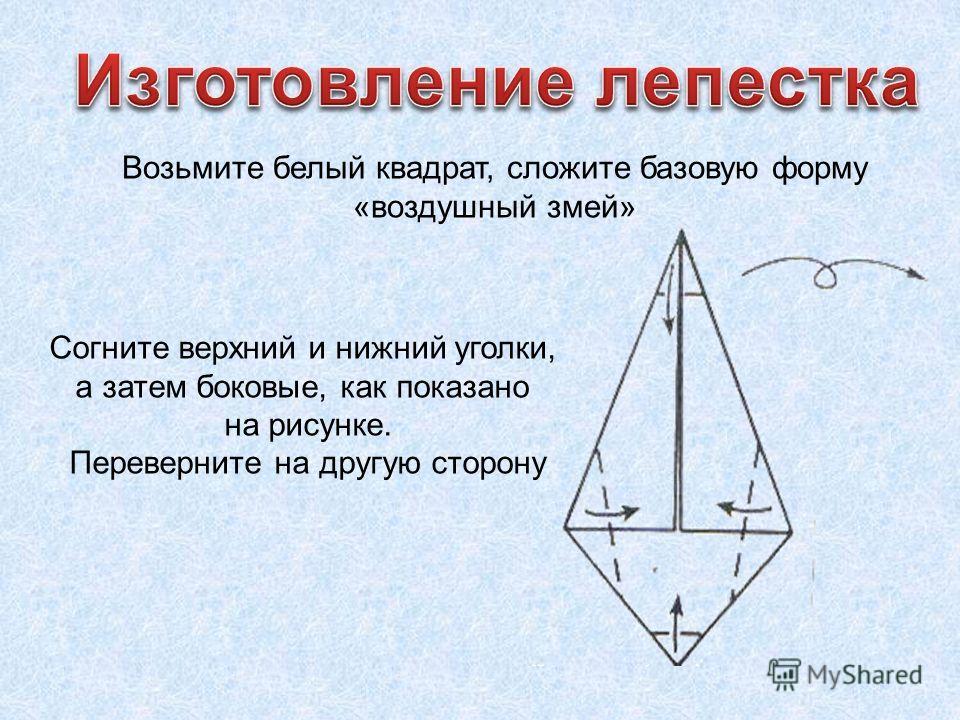 Возьмите белый квадрат, сложите базовую форму «воздушный змей» Согните верхний и нижний уголки, а затем боковые, как показано на рисунке. Переверните на другую сторону