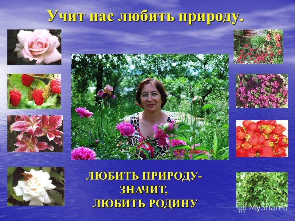 Учит нас любить природу. ЛЮБИТЬ ПРИРОДУ- ЗНАЧИТ, ЛЮБИТЬ РОДИНУ ЛЮБИТЬ РОДИНУ