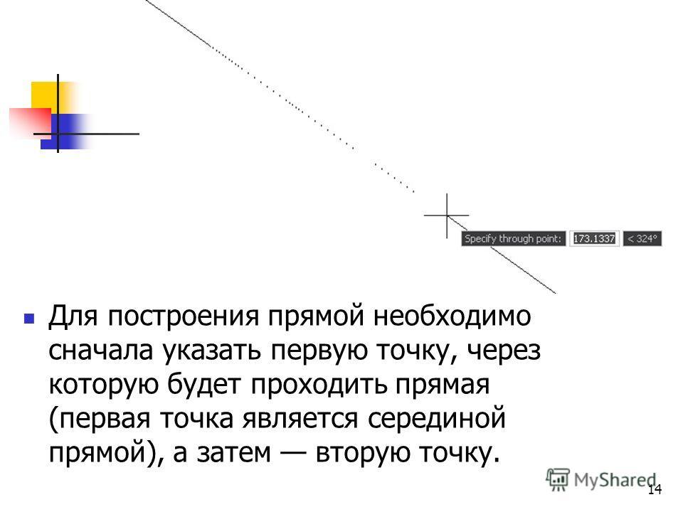 Для построения прямой необходимо сначала указать первую точку, через которую будет проходить прямая (первая точка является серединой прямой), а затем вторую точку. 14