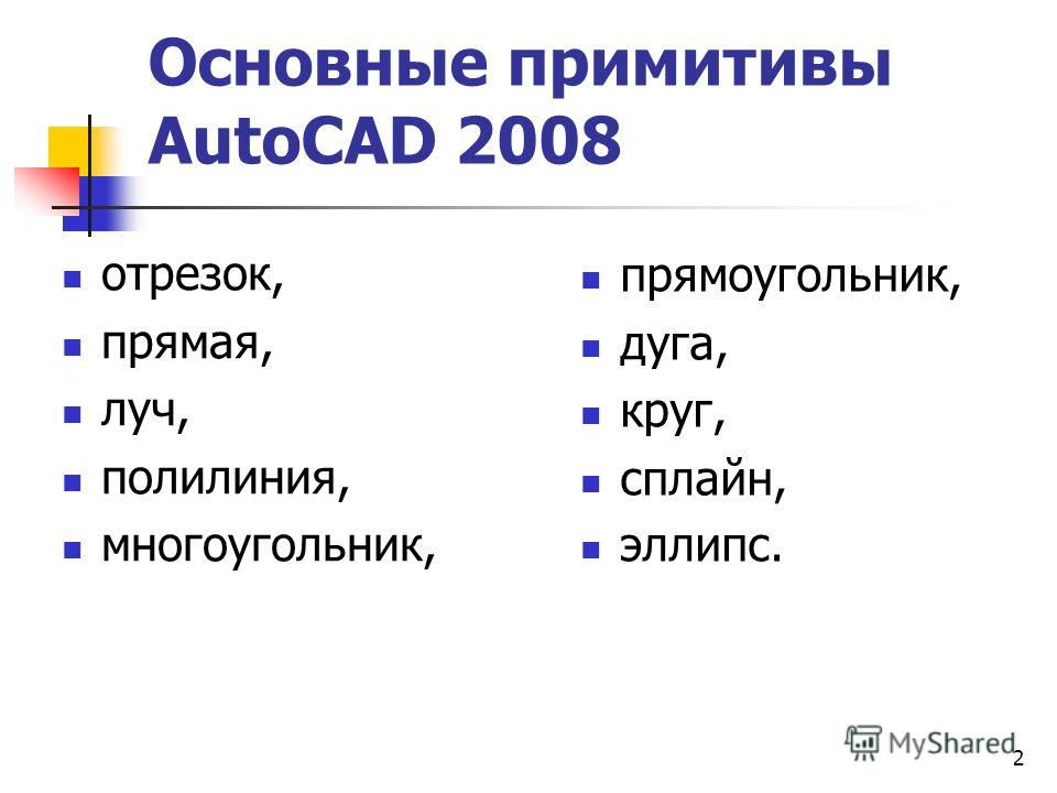 2 Основные примитивы AutoCAD 2008 отрезок, прямая, луч, полилиния, многоугольник, прямоугольник, дуга, круг, сплайн, эллипс.