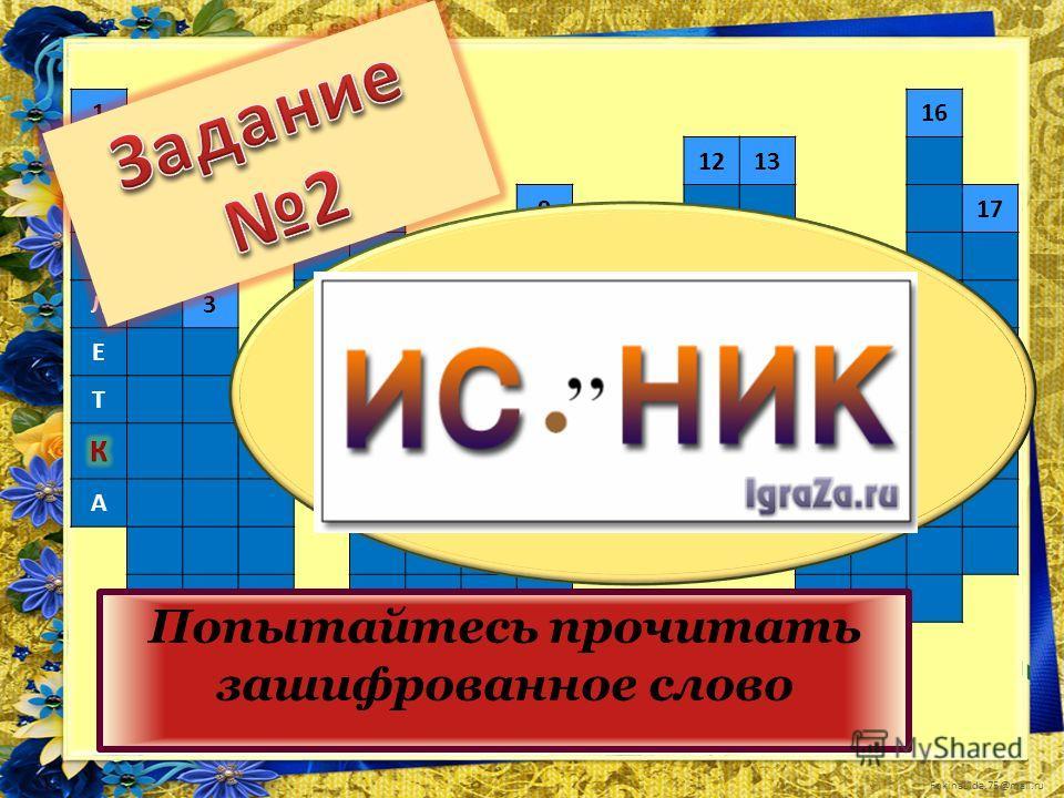 FokinaLida.75@mail.ru 1516 Т61213 А917 Б2810 Л314 Е711 Т4 А Попытайтесь прочитать зашифрованное слово
