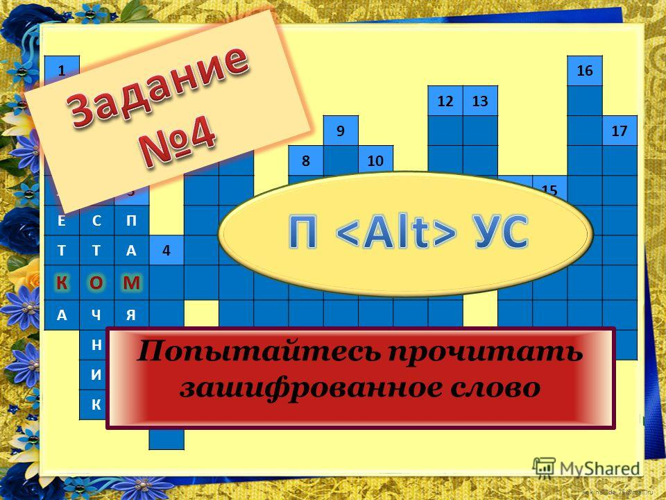 FokinaLida.75@mail.ru 1516 Т61213 А917 Б2810 ЛИ31415 ЕСП711 ТТА4 АЧЯ НТ ИЬ К Попытайтесь прочитать зашифрованное слово