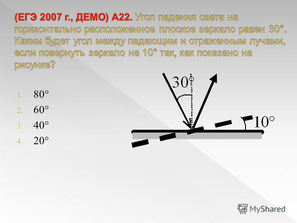 1. 80° 2. 60° 3. 40° 4. 20°