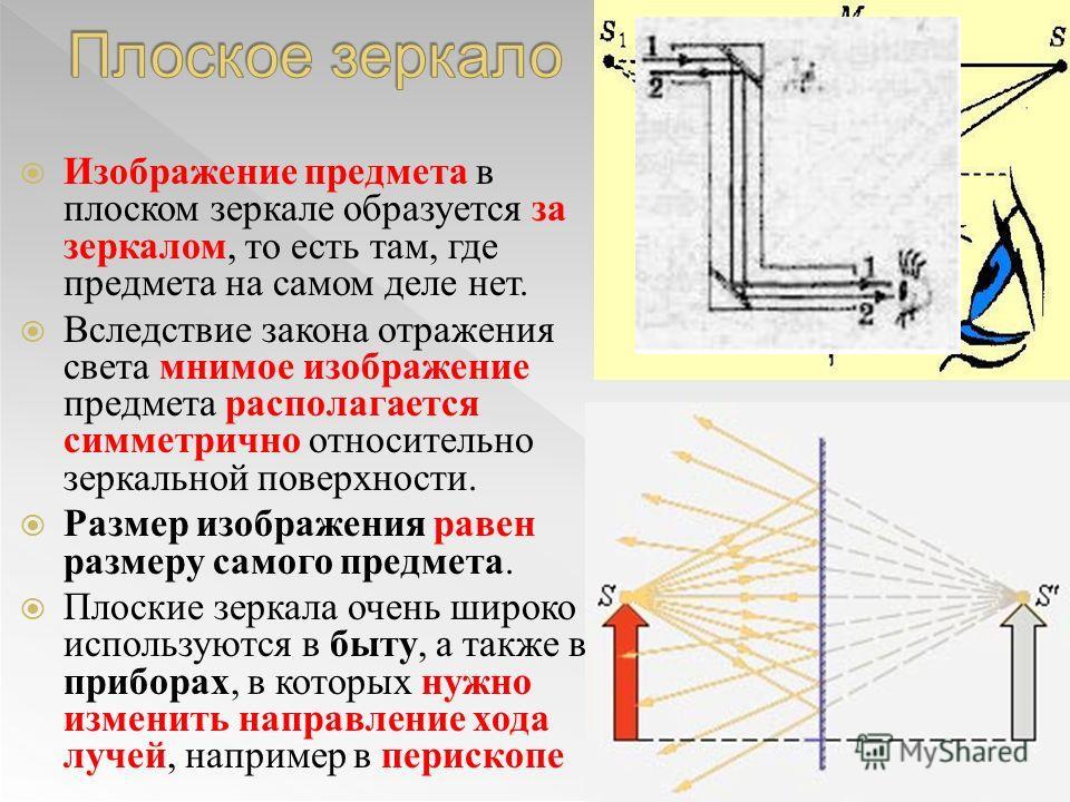Изображение предмета в плоском зеркале образуется за зеркалом, то есть там, где предмета на самом деле нет. Вследствие закона отражения света мнимое изображение предмета располагается симметрично относительно зеркальной поверхности. Размер изображени