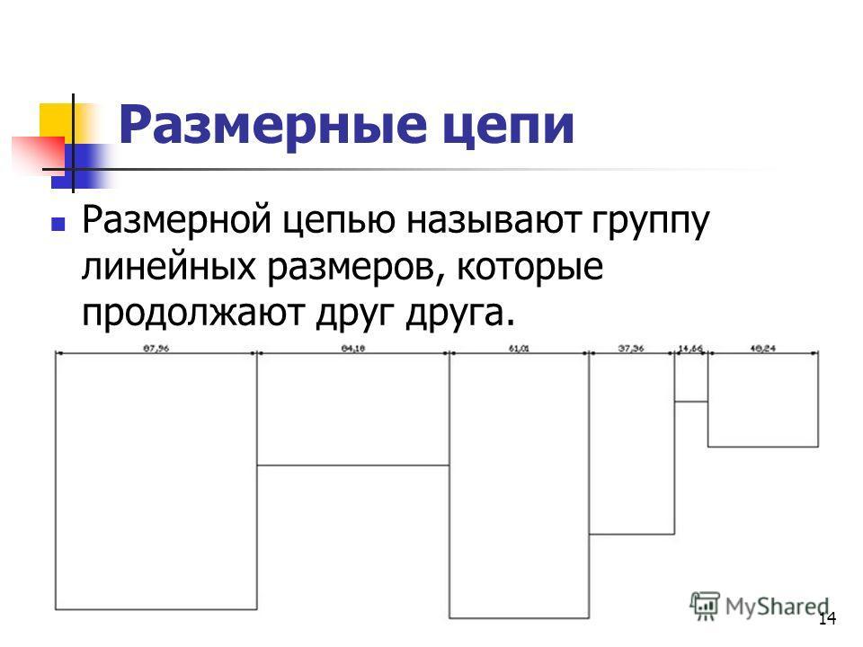 Размерные цепи Размерной цепью называют группу линейных размеров, которые продолжают друг друга. 14